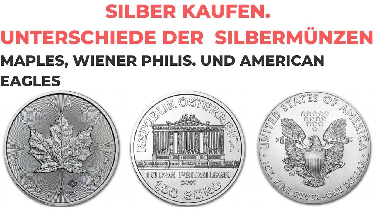Silber kaufen - Unterschiede der  Silbermünzen -  Maple Leaf, Wiener Philh. und American Eagle