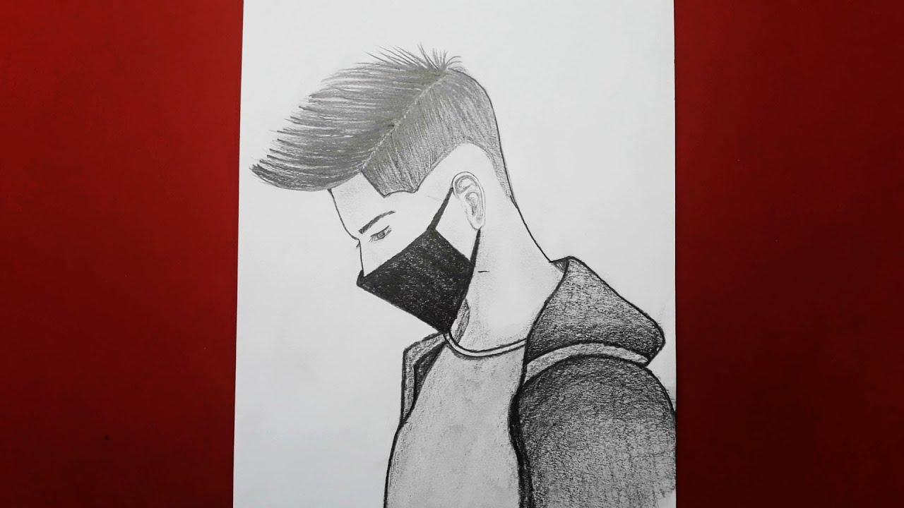 Kolay Maskeli Erkek Çizimi / How to Draw a Beautiful Boy Face/Drawing Boy / Step by Step
