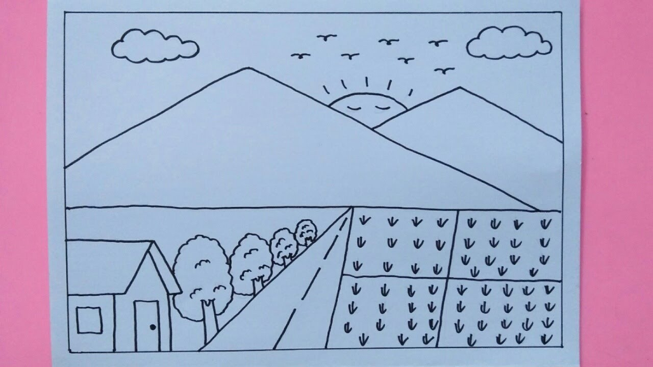 Cara Menggambar Rumah Gunung Dan Sawah Untuk Anak Anak