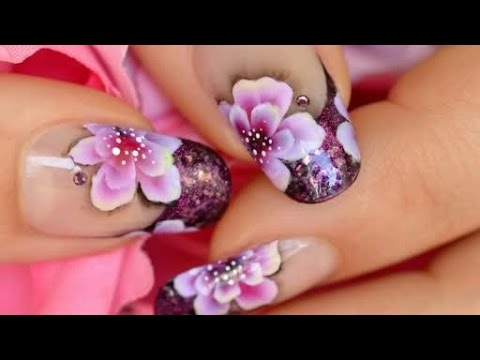Nail Art One Stroke & French Manicure - Nail Art One Stroke & French Manicure - YouTube