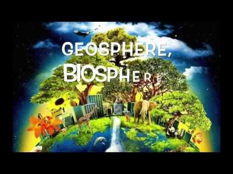 Geosphere, biosphere, hydrosphere, atmosphere