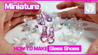 How to make miniature Glass Shoes for Barbie doll, 미니어쳐 바비인형 유리구두 만드는 방법(레진 & 폴리머클레이) Subtitle