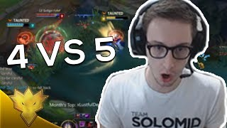 TSM Bjergsen - STUPID 4 VS 5 - League of Legends Funny Stream Moments