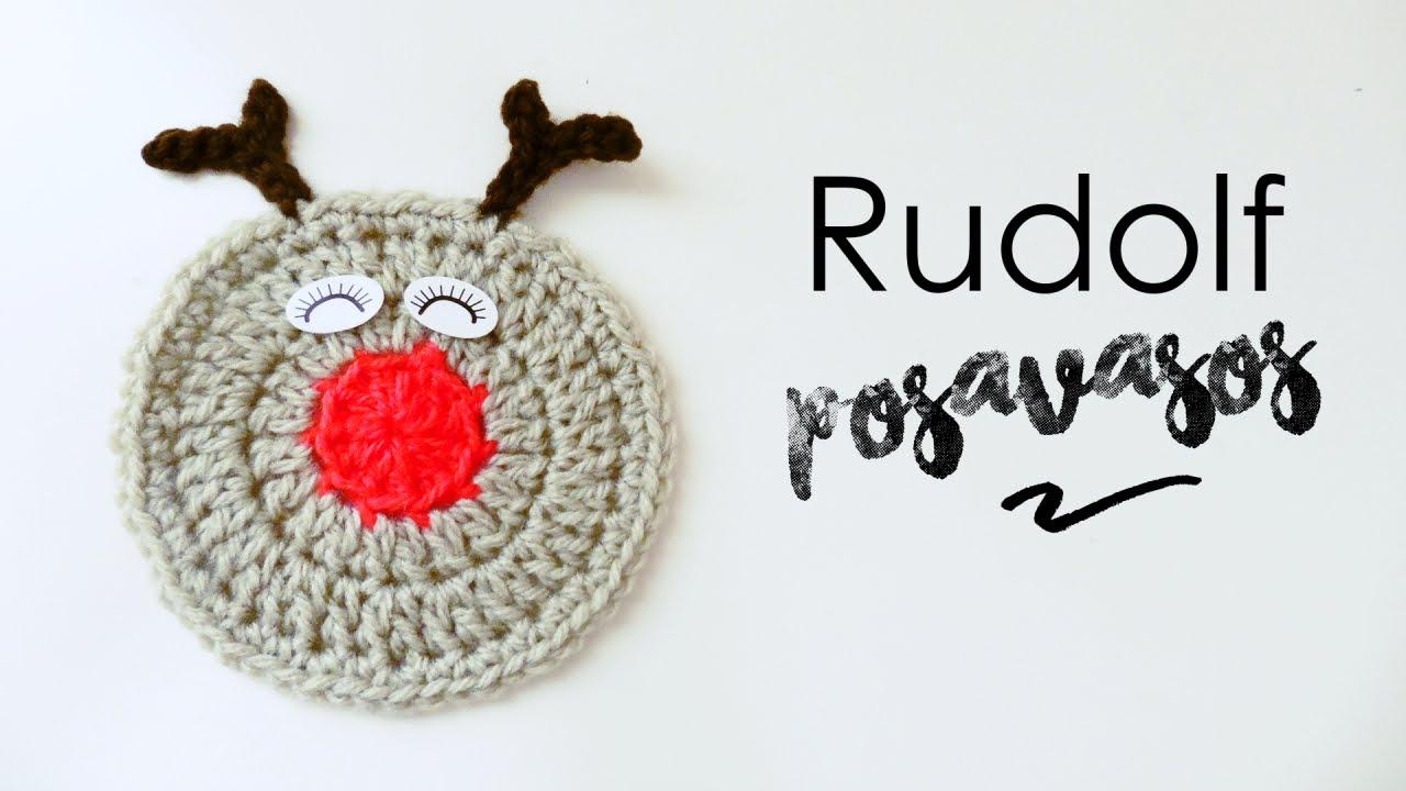 Posavasos de Rudolf el Reno a Crochet - YouTube