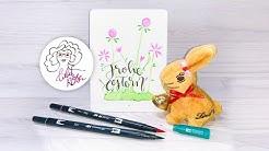 Osterkarte Last Minute Handlettering Frohe Ostern Watercolor - ganz leicht