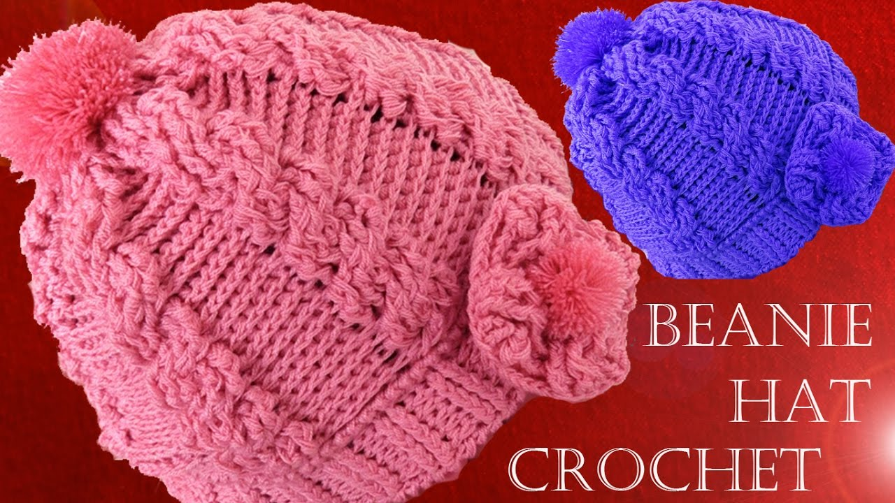 394ac79d29d85 Como tejer gorro boina a Crochet o Ganchillo trenzas en relieve ...