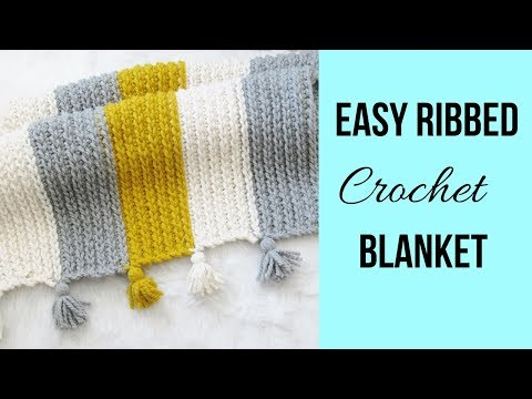 Easy Ribbed/Ridged Crochet Blanket (Super Chunky)