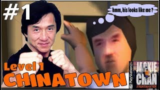 [PSX] Jackie Chan stuntmaster PS1 - combo + gameplay - Level 1 CHINATOWN - all dragon collected - #1