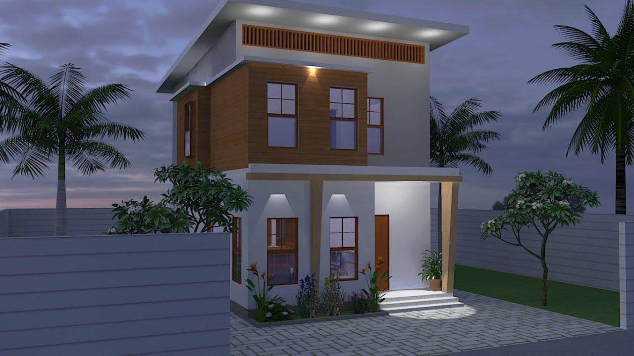 Desain Rumah 5 5 X 9 Meter 2 Lantai Plus Lahan Sketchup Youtube