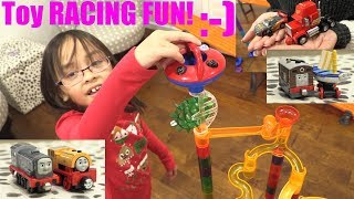 Fun Toy Playtime! Marble Racing Thomas and Friends, Disney Cars, Dinosaurs and Monster Jam Trucks