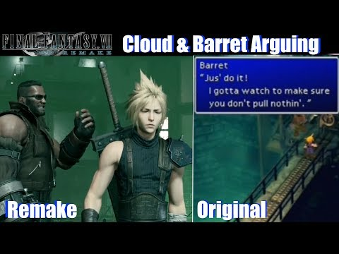 Final Fantasy VII Remake Cloud & Barret Arguing over the Bomb - FF7 Remake vs Original (TGS 2019)