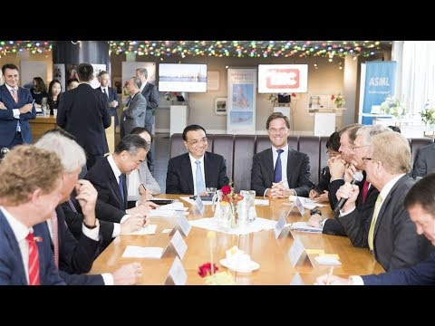 Chinese premier visits high tech exhibition with Dutch minister