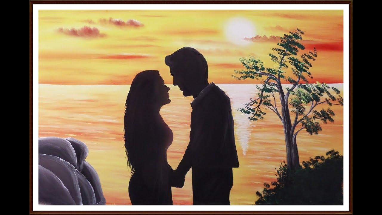 Pintura Do Por Do Sol Com Casal De Namorados Youtube