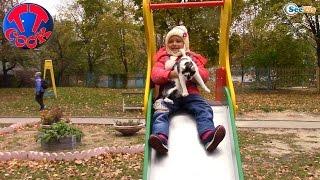 Котенок Барсик и Ярослава на ДЕТСКОЙ ПЛОЩАДКЕ. Выгуливаем Барсика - Играем. Видео для детей