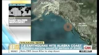Earthquake : A 7.5 Magnitude Earthquake strikes off the Coast of Alaska and Canada (Jan 05, 2013)
