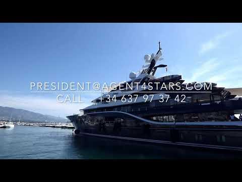 WOW SOLANDGE 85m Royal Saudi Yacht leaves Puerto Banus reversing.