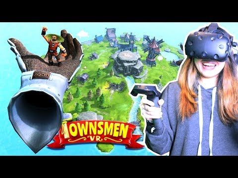 BUILD AND CONTROL YOUR OWN ISLAND! | Townsmen VR Gameplay (HTC Vive)