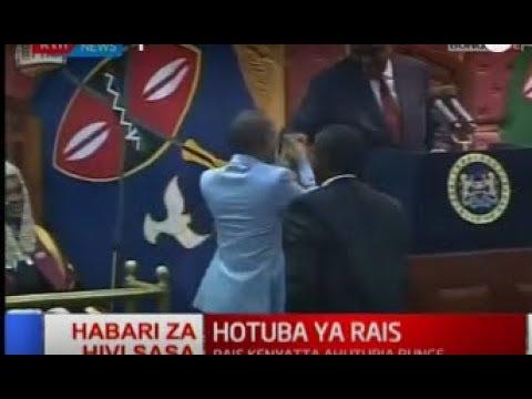Babu Owino's surprise handshake to President Kenyatta during the State of the Nation Address