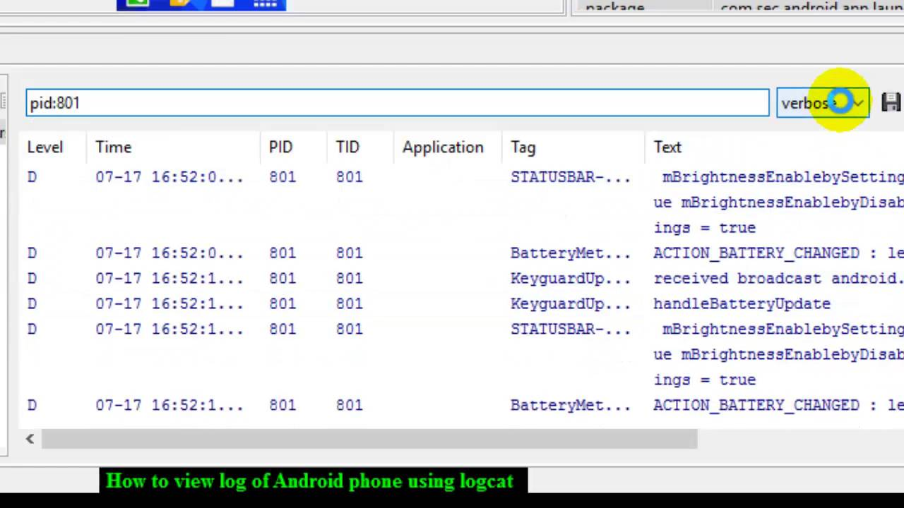 How to view log of Android phone using logcat