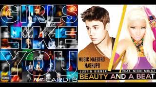 Girls Like You/Beauty And A Beat [Mashup] - Justin Bieber, Maroon 5, Nicki Minaj & Cardi B