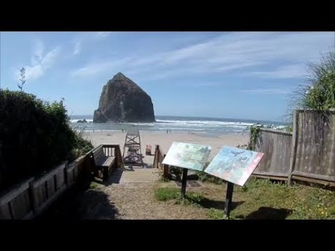 Cannon Beach Oregon Walk out on the Beach By Haystack Rock - August 24, 2017