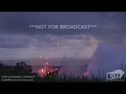5-13-2018 Pahoa, Hi Fissure 17 erupts with big explosions of magma and rock, kilauea volcano 4k