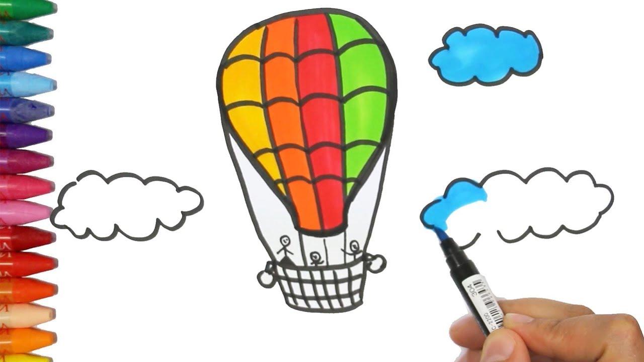 Gambar balon udara dan pewarnaan Cara Menggambar dan Mewarnai TV Anak