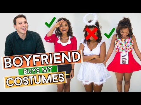 BOYFRIEND BUYS MY HALLOWEEN COSTUMES || Boyfriend Shopping Challenge 2017
