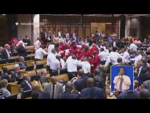 South African Members of Parliament Throw Punches