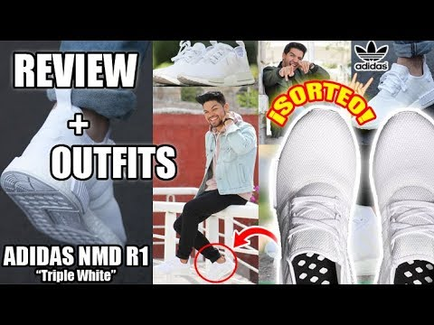 beb77d380 OUTFITS + REVIEW ADIDAS NMD R1 TRIPLE WHITE - YouTube