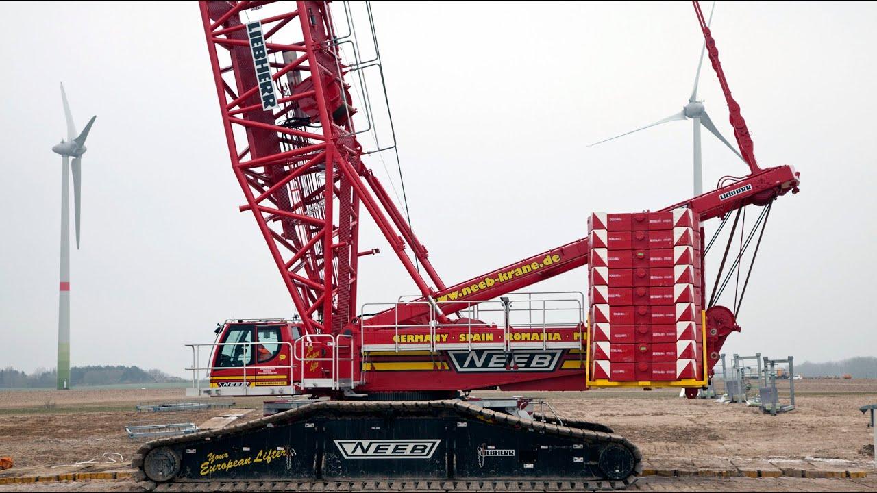 Liebherr - LR 1600/2 crawler crane during wind turbine erection