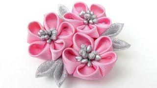 Zapętlaj DIY Kanzashi flower hairclip I Kanzashi flower tutorial I How to make ribbon kanzashi flower | The Flower Art
