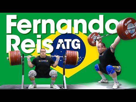 Fernando Reis (Brazil 🇧🇷) 170kg Hang Snatch 305kg Back Squat Session 2017 Worlds