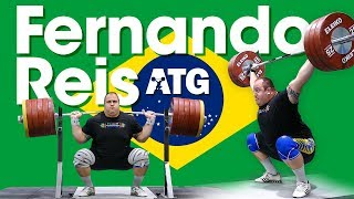 Fernando Reis (Brazil 🇧🇷) 170kg Hang Snatch 305kg Back Squat Session 2017 Worlds