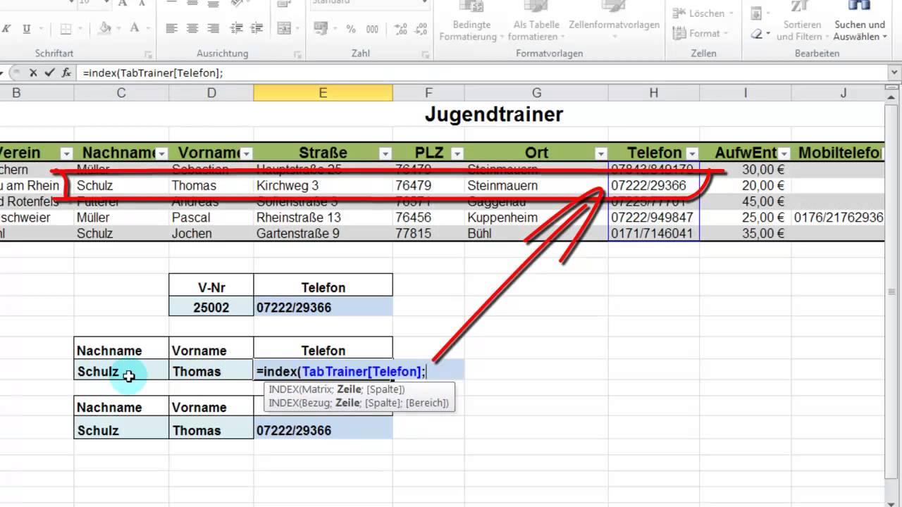 EXCEL: INDEX und VERGLEICH mit zwei Suchkriterien - YouTube