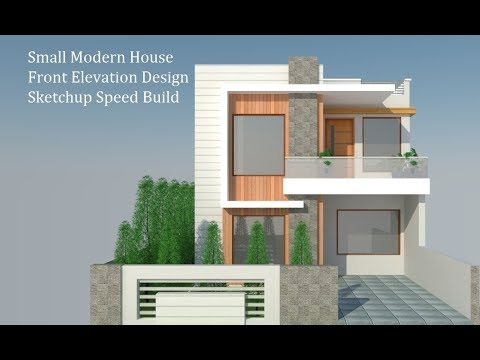 Attractive Front Elevation Design Of A Small House Sketchup Speed Build