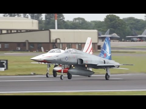 Patrouille Suisse Northrop F-5E Tiger II Swiss Air Force departure at RIAT 2016 AirShow