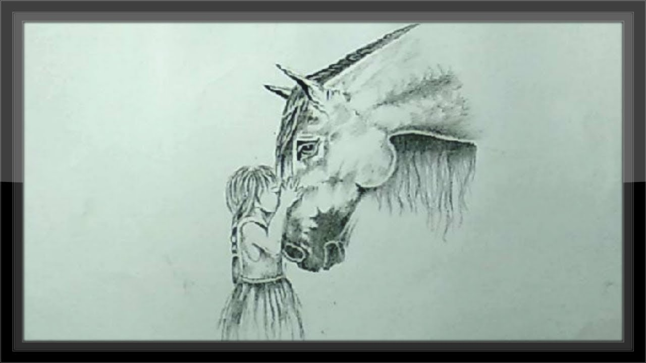 Simple pencil drawing beautiful horse head step by step easy