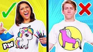 3 Marker T-Shirt Challenge!! Fun DIY Unicorn & T-Rex Dinosaurs! (Coloring Challenge)