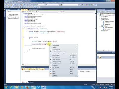 Create a dataset and XML visual studio