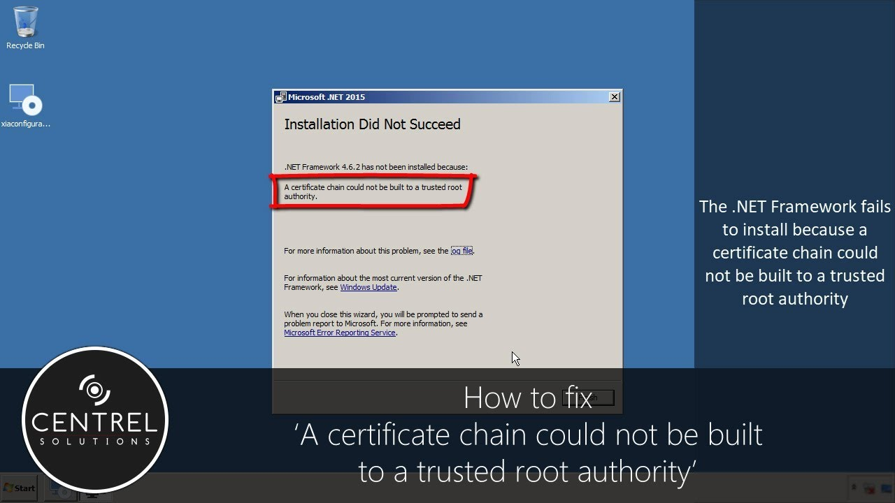 A Certificate Chain Could Not Be Built To A Trusted Root Authority