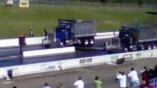 Dump Trucks Drag Racing At VMP 10-2-2010