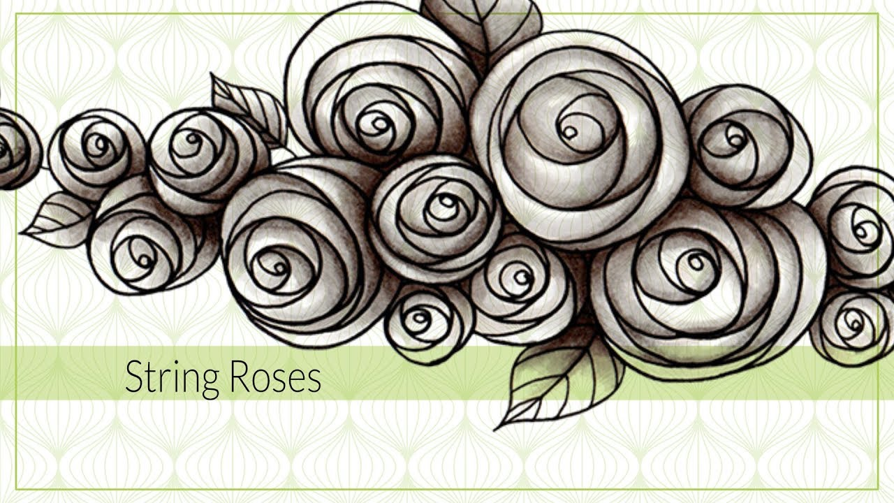 How To Draw String Rose Tangle Pattern Youtube