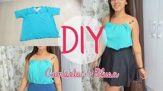 DIY  Antes Camiseta Masculina Agora Blusa Feminina - Tanara Hormain