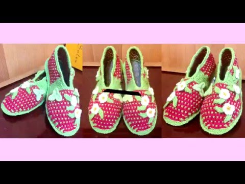 Вязание тапочки на войлочной подошве / Knitting booties on felt soles