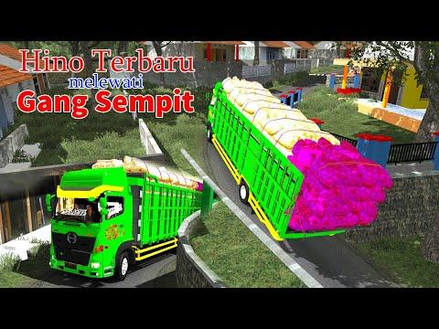Truk Muatan Sayur Setor dari plosok ke Pasar     trucks carry vegetables through narrow streets