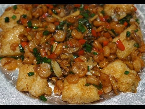 Asian Food - Fried Fish & Shrimp in Oyster Sauce Recipe ...