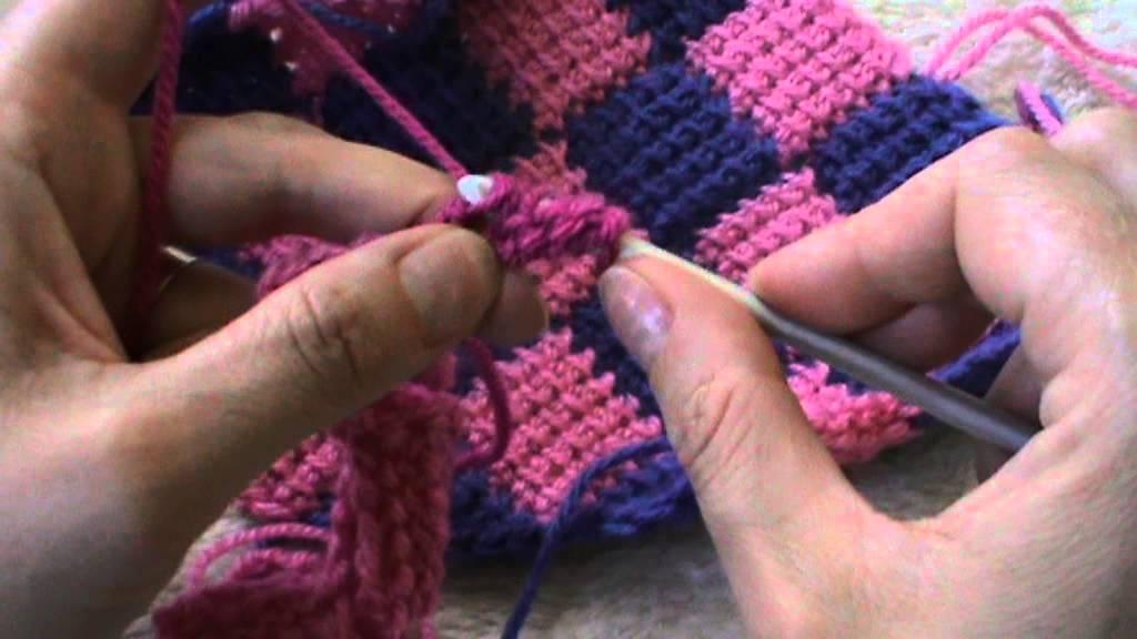 Punto Tunisino Intrecciato Entrelac Crochet Prima Parte Youtube