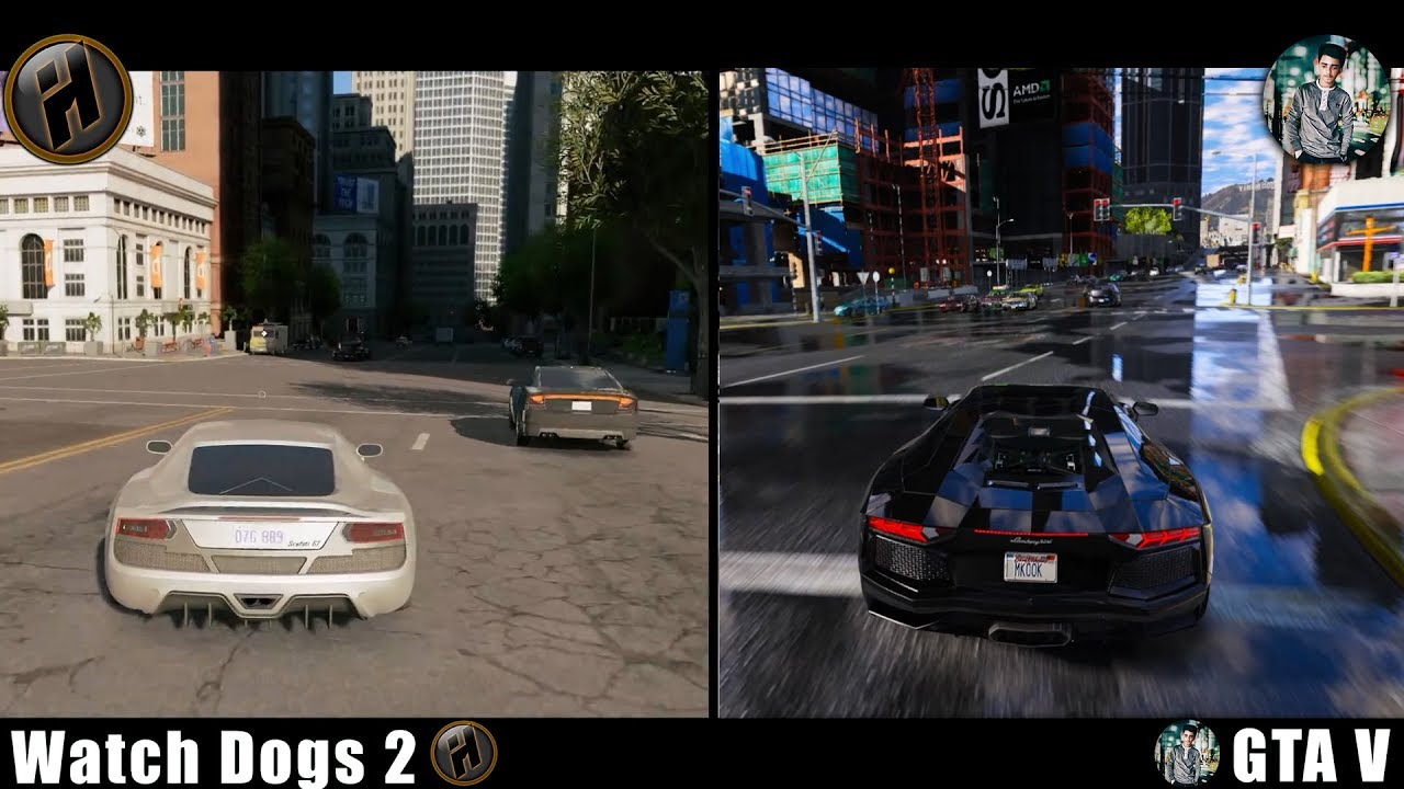 Watch Dogs: 2 VS GTA: 5 MVGA + NVR + VisualV Graphic Mods! |Side By Side|  NEW! (Graphics Comparison)