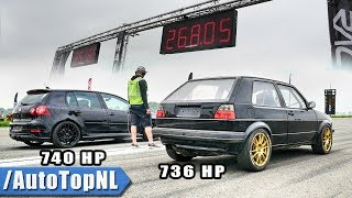 740HP VW Golf 5 R32 Turbo vs 736HP VW Golf 2 R32 Turbo   1/2 MILE SPEED TRAP by AutoTopNL